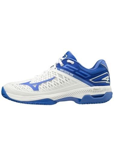 Mizuno Wave Exceed Tour 4 CC Unisex Tenis Ayakkabısı Beyaz / Mavi Mavi